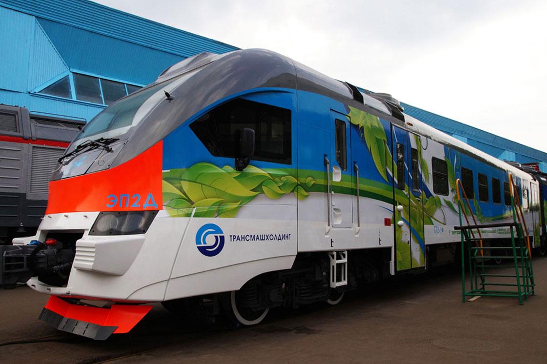 поезд ЭП2Д. Презентация в Щербинске.